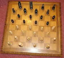 Vintage Exquisitely carved wood folding chess board & men Made in Yugoslavia