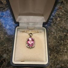 10 Kt Gold Swarovski Pink Crystal Stone Pear Pendant Necklace
