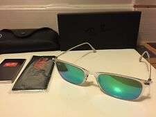 New Ray-Ban Light Ray Wayfarer RB4225 646/3R Matte transparent / Green Mirror