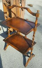 Antique Old English Solid Tiger Oak Country Style Folding Tray Stand