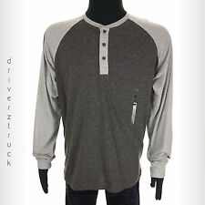 LEVI'S Mens SMALL Light & Charcoal GRAY Long Sleeve HENLEY SHIRT 3 Button CASUAL