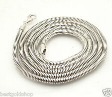 "36"" 4mm Mens Anti-Tarnish Snake Chain Necklace Solid Sterling Silver 925 43.7gr"