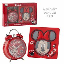DISNEY I LOVE MINNIE MOUSE RED ALARM CLOCK & PHOTO FRAME GIFT SET 100% OFFICIAL