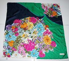 "Gucci 34"" x 34"" Multicolor Floral Flower Print 100% Silk Scarf"