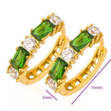 Yellow Gold Plated Womens Green Peridot Rhinestone Round Huggie Hoop Earrings