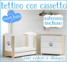 Lettino 120x60 con cassetto+materasso!vari colori e diversi disegni disponibili!