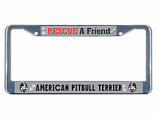 American Pitbull Terrier Dog Rescue a Friend Metal License Plate Frame