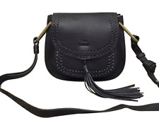 Chloe Hudson bag black leather cross body perforated tassel small 2150 msrp