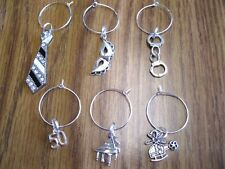 Silver Wine Glass Charms Inspired by 50 Shades of Grey - 6 WATERPROOF