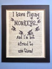 Wizard Of Oz I Have Flying Monkeys Gift Idea Antique Dictionary Art # 10