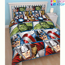 MARVEL AVENGERS SHIELD DOUBLE DUVET COVER AND PILLOWCASE SET BEDDING QUILT KIDS