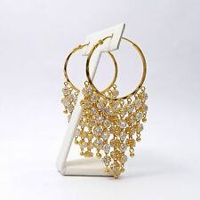 New 22K Gold Waterfall of Crystal Cubic Zirconia Dangle Hoop Earrings 19.7gr