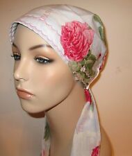 Chemo Hat Paris Roses  Print Cancer Hat Alopecia  Pre-Tied Scarf Made USA