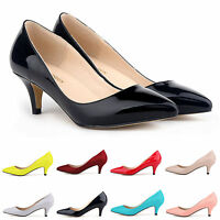 LADIES WOMENS LOW MID HIGH KITTEN HEEL WORK CASUAL SMART COURT SHOES PUMPS SIZE