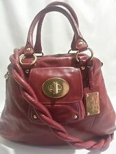 COACH LTD ED KIRA QUILTED RUBY RED BORDEAUX LEATHER TOTE BAG PURSE SATCHEL RARE!