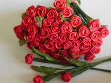 50! Romantic Red - Lovely Satin Ribbon Roses With Florist Stem And Fabric Leaf!