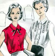 "RARE Vintage 50s BLOUSE Sewing Pattern Bust 36"" Size 12 Shirt RETRO Rockabilly"