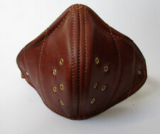 Real Leather Tan Retro Face Mask Hand Made for Open Face Motorcycle Helmet