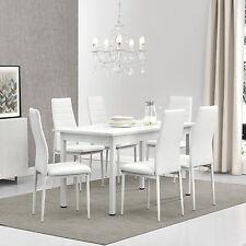 [en.casa]® Esstisch mit 6 Stühlen weiß 140x70cm Küchentisch Esszimmertisch Tisch