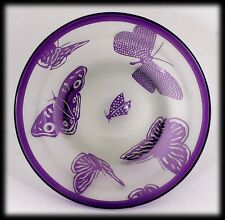 Correia Art Glass Lilac Butterflies Bowl Signed Cameo Vase Limited Edition