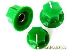 Set of 3 jazz bass guitar style 7 side green knobs 1 tone and 2 volume knob new