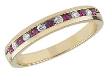 Diamond and Ruby Half Eternity Ring 9ct Yellow Gold 0.11ct/0.22ct