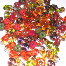 FALL MIX - Handmade Glass Lampwork Beads - Reds Olive Brown Autumn Colors - 20