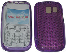 For Nokia Asha 302 / 3020 Pattern Gel Jelly Case Cover Protector Pouch PURPLE UK