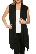USA Women Open Front Vest Long Tunic Shawl Collar Draped Cardigan Top S M L XL
