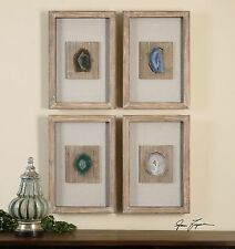 Genuine Agate Stone Wall Art Natural Color | Rustic Wood Shadowbox