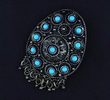 Vintage Bohemian Style Sterling Silver Turquoise Pin Brooch Pendant Israel OS261