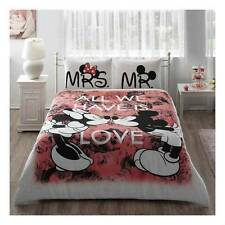 DOUBLE DUVET QUILT COVER SET Mickey & Minnie Mouse BELOVED COTTON QUEEN 4 PCS