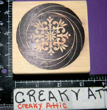 CIRCLE SWIRL DECAL FLOWERS RUBBER STAMP MAGENTA RETIRED