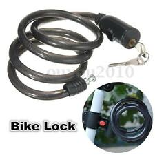 1M Spiral Cable Mountain Bicycle Bike Lock 2 Keys Cycle Chain Black