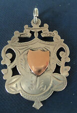 LARGE Sterling Silver & Gold Fob Medal 1911 Chester Double Sided - not engraved