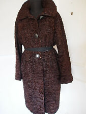 Vintage Genuine Persian Lamb Fur Astrakhan Brown Coat Long Stroller L XL Large