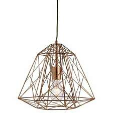 Searchlight GEOMETRIC CAGE 1 LIGHT FRAME PENDANT SHINY COPPER 7271CU