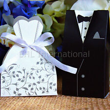 100pcs Wedding Favor Boxes Dress & Tuxedo Party Bride Groom Shower Gift Style 3
