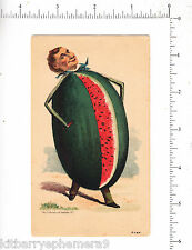 6175 Anthropomorphic Watermelon Man c 1885 trade card Earl H Burgard, Buffalo NY