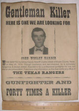 BIG 11 x 14 John Wesley Hardin Wanted Poster, old west, western, outlaw