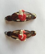 Vintage Hair Barrettes - Pair of mini oval barrettes (hand painted cupids)