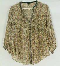 FEI ANTHROPOLOGIE BLOUSE SIZE 10 Floral Yellow Peasant Boho Slightly Sheer