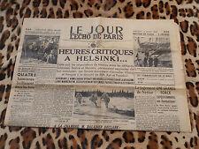 Journal - Le Jour/ L'Echo de Paris du 13/03/1940