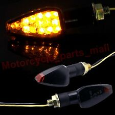 2X UNIVERSAL MOTORCYCLE BIKE AMBER LED TURN SIGNAL BLINKER LIGHT INDICATOR BLACK