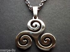 TRISKELION TRISKELE SPIRAL  DRUID PENDANT 316L STAINLESS STEEL CHAIN NECKLACE