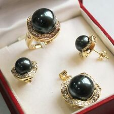 Black Shell Pearl Necklace Earrings Ring Sets