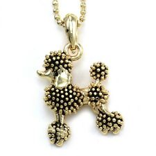 Black Poodle Dog Pendant Necklace Gold Tone Animal Pet Lover Jewelry Kids Charm