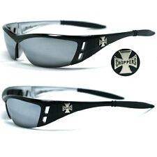Choppers Motorcycle Riding Glasses Sunglasses - Black Frame Mirror Lens C46