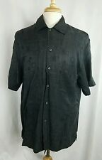 Mens BRIONI 100% Rayon Button Down S/S Shirt Made in Italy Black Medium M F254