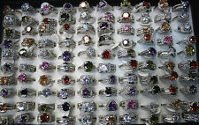 45pcs Wholesale Lots Multi-Coloured CZ Charm Rhinestone Wedding Lady Rings EH318